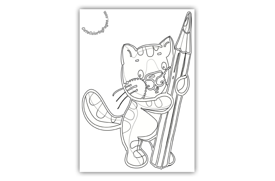Funny Studious Kitten Coloring Page