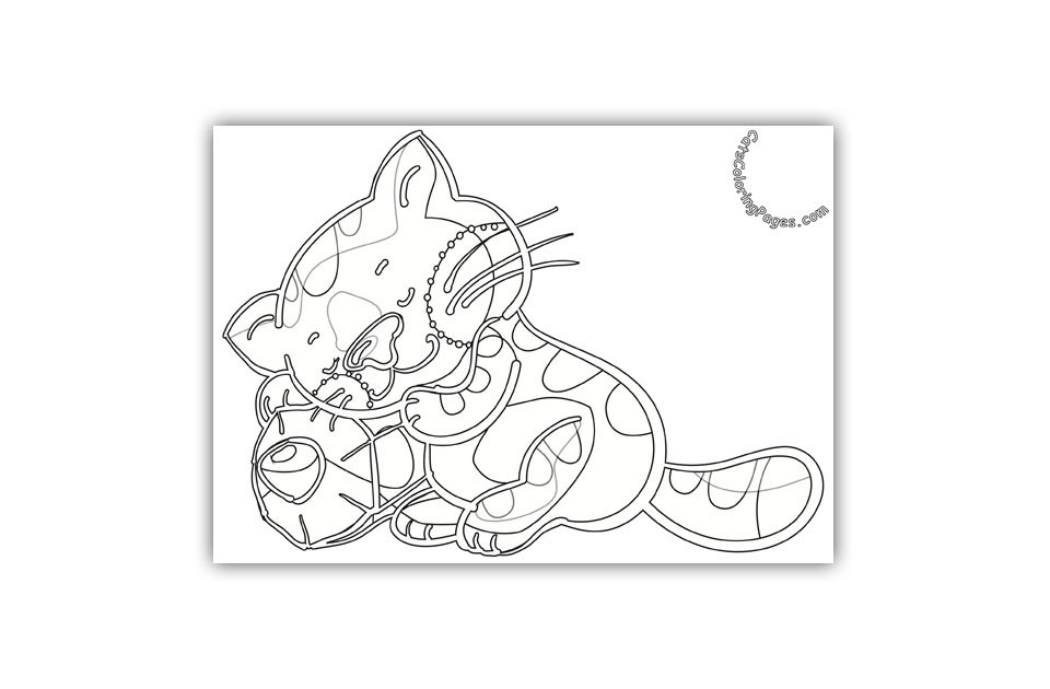 Studious Sleepy Kitten Coloring Page