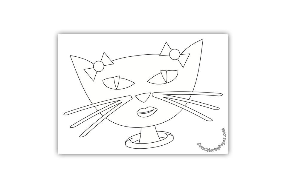 Fancy Black Cat Coloring Page
