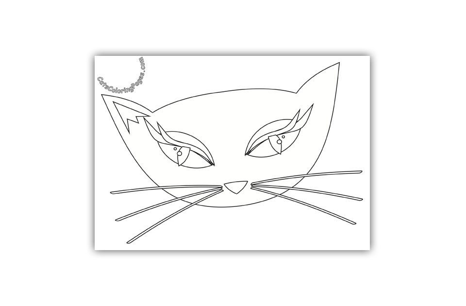 Fancy Green Eyed Cat Coloring Page