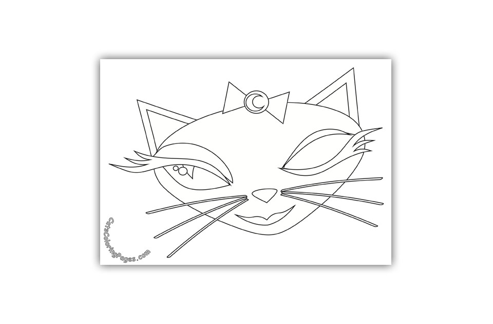 Cute Green Eyed Cat Coloring Page