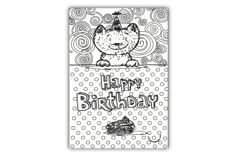 Kitten Happy Birthday Card Coloring Page