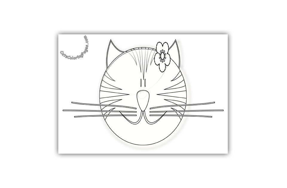 Smiling Fancy Pink Cat Coloring Page
