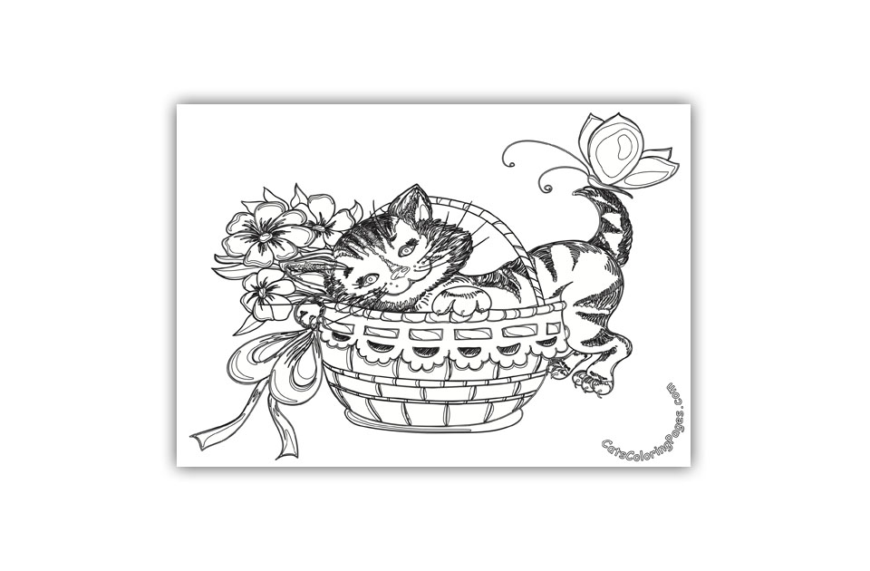 Cat in Basket Coloring Page