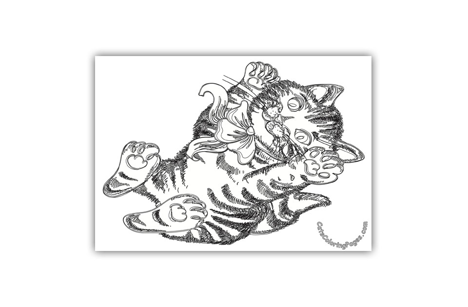 Cute Playful Kitten Coloring Page