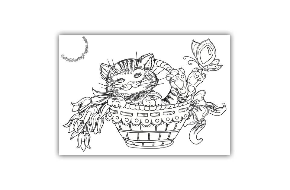 Happy Playful Kitten Coloring Page