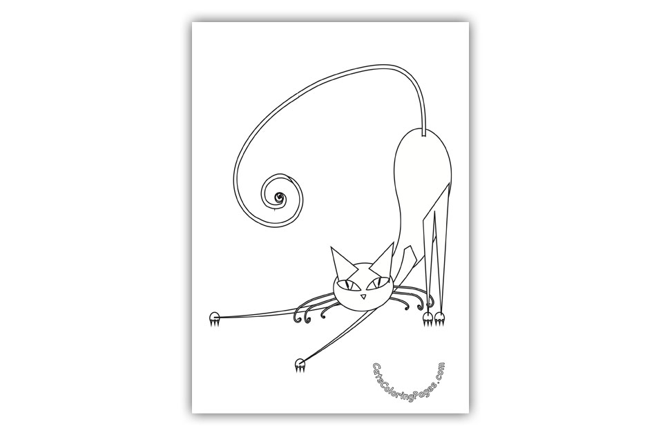 Cute Black Cat Coloring Page