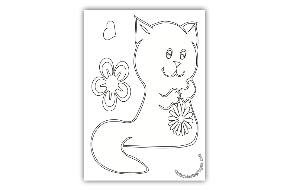 Kitten with Flower Coloring Page
