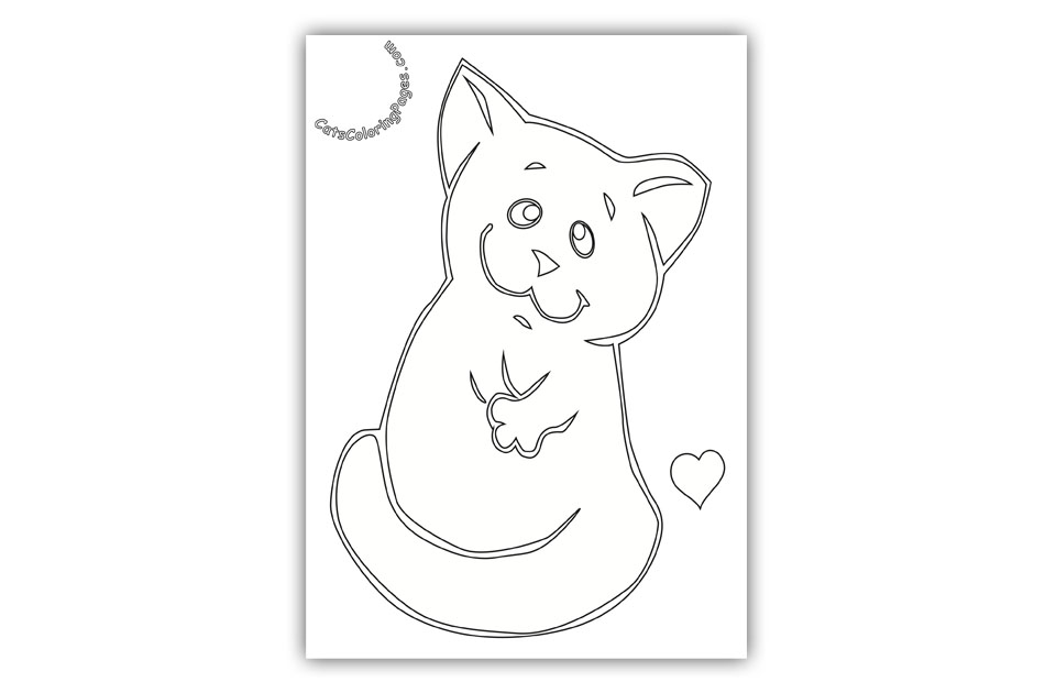 Funny Cute Kitten Coloring Page
