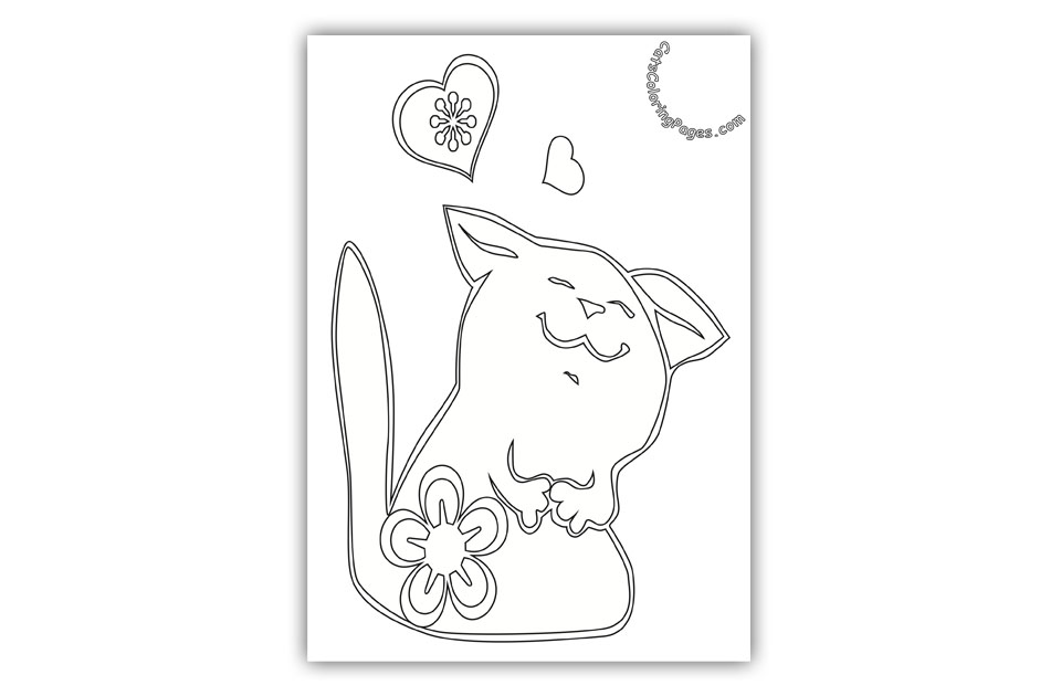 loving cute kitten coloring page