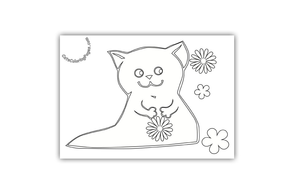 Happy Kitten with Flower Coloring Page