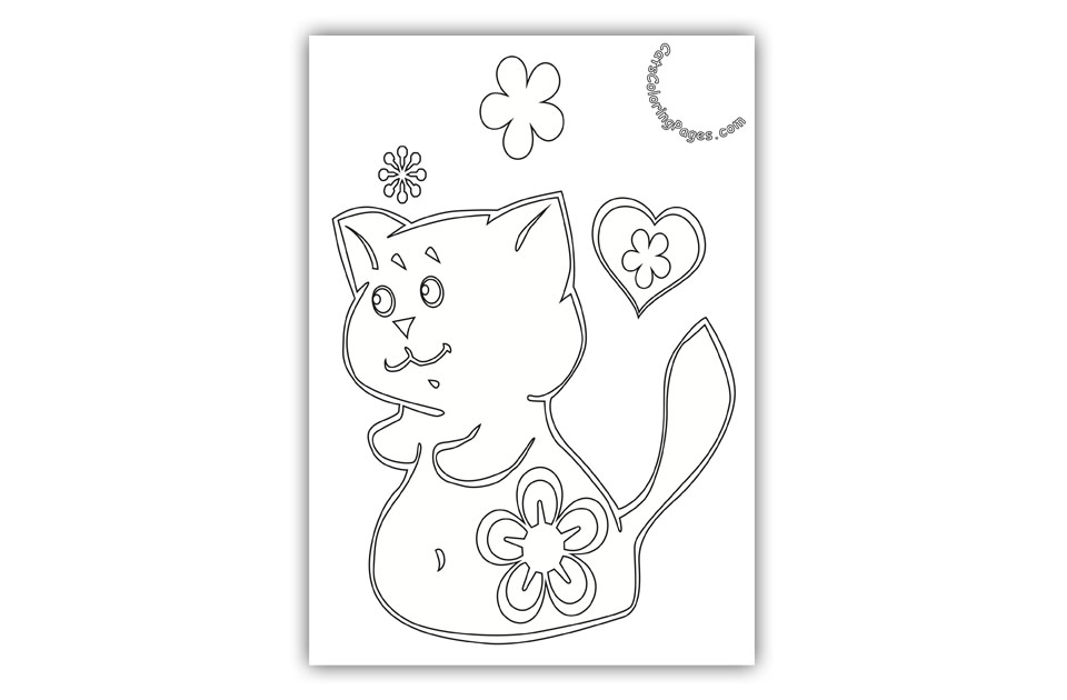 Playful Kitten with Flower Coloring Page