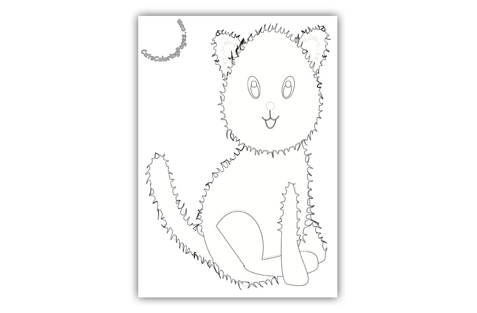 Fluffy Happy Kitten Coloring Page