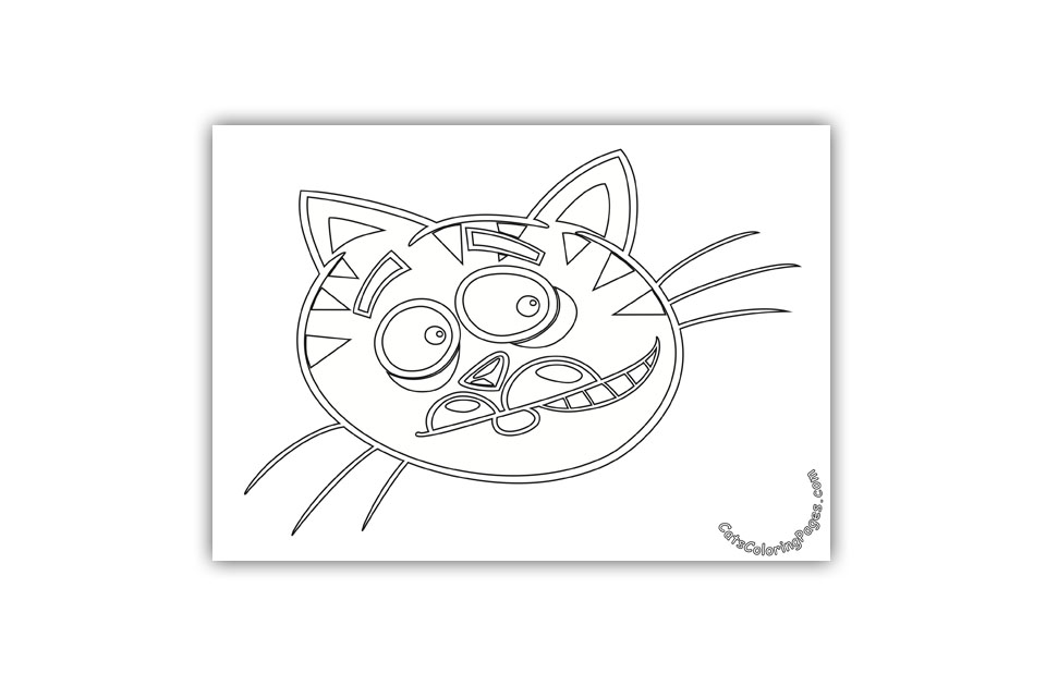 Surprised Cat Coloring Page