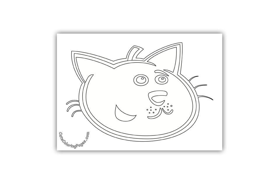 Happy Black Tomcat Coloring Page