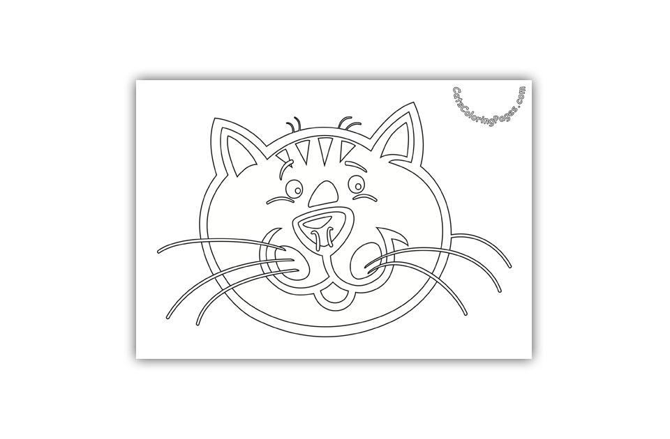 Surprised Orange Cat Coloring Page