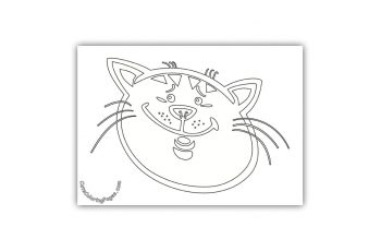 Embarrassed Cat Coloring Page