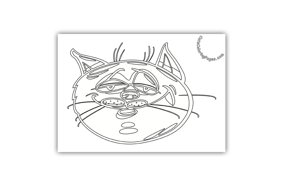 Funny Senior Cat Coloring Page