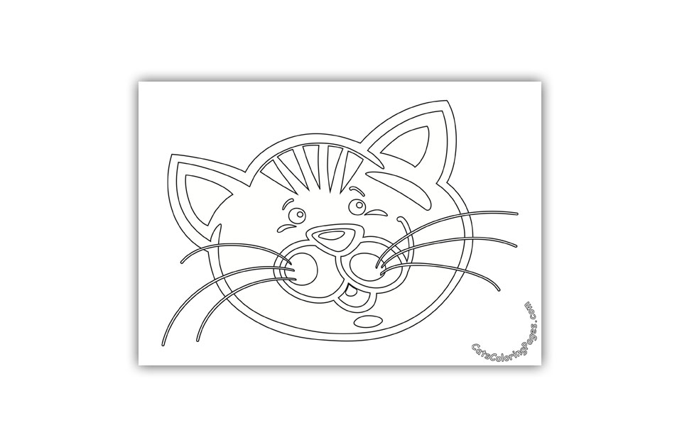 Small Eyed Cat Coloring Page