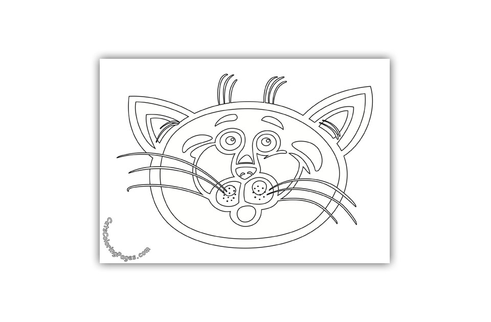 A Scared Cat Coloring Page
