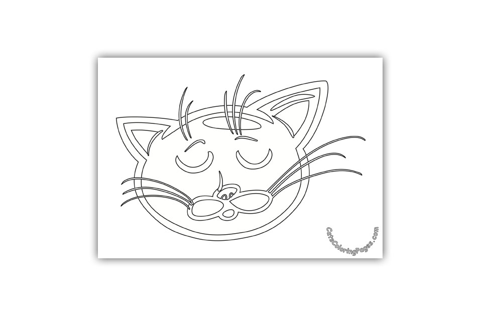 Cat Dreaming Coloring Page