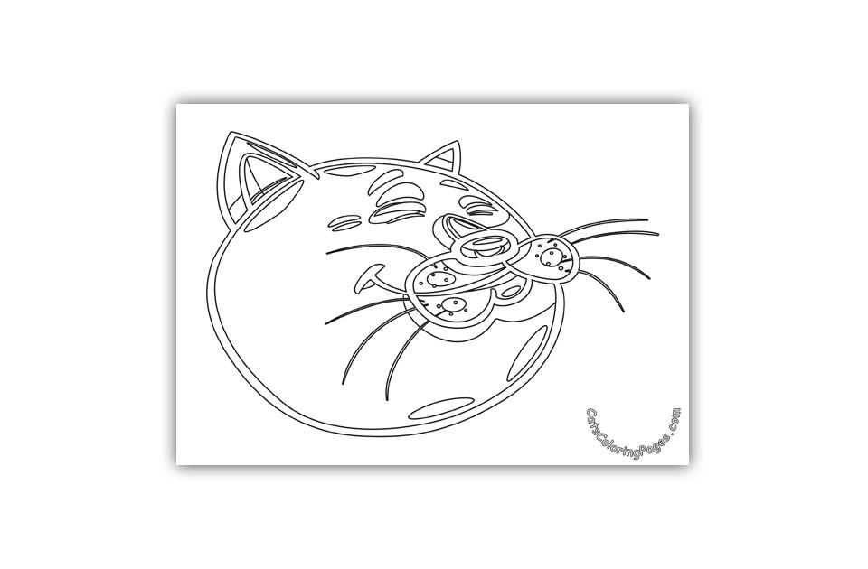 Romantic Cat Coloring Page
