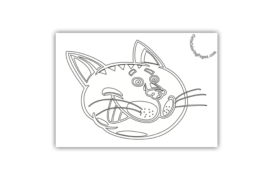 Smiling Tomcat Coloring Page