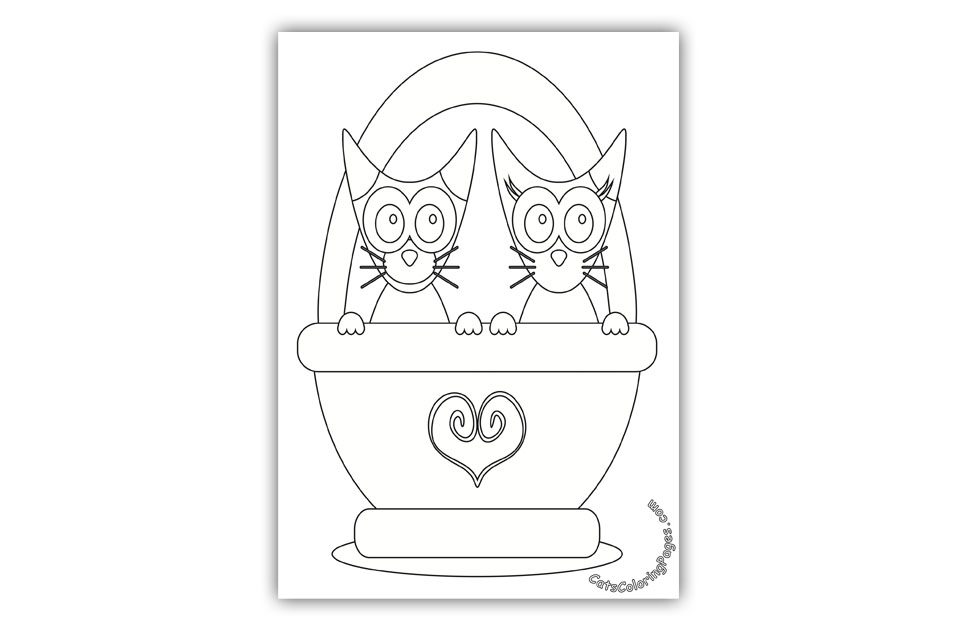 Two Cats in a Bag Coloring Page