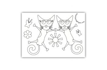 Two Cats Holding Hands Coloring Page