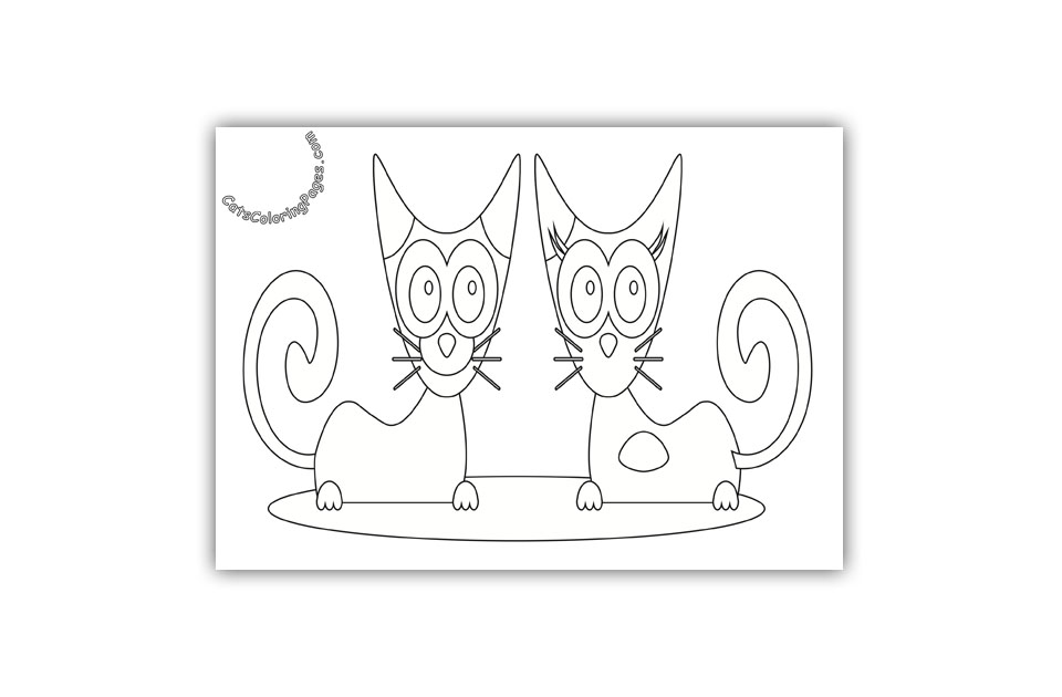 Two Cats Smiling Coloring Page