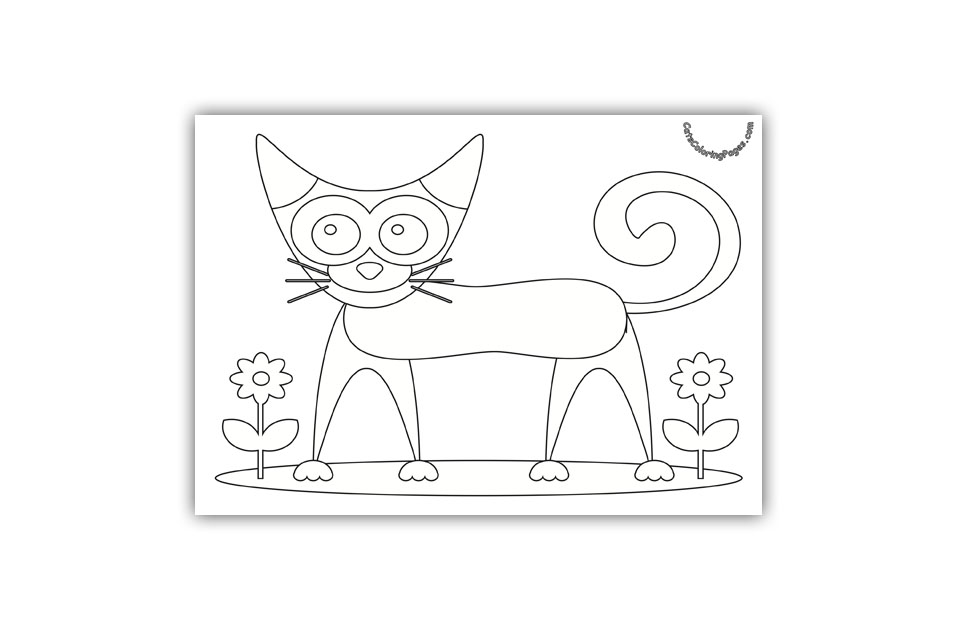 Happy Cat in the Garden Coloring Page