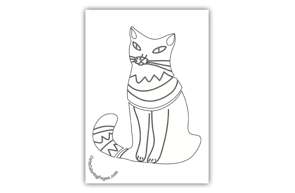 Cat Waiting for Food Coloring Page