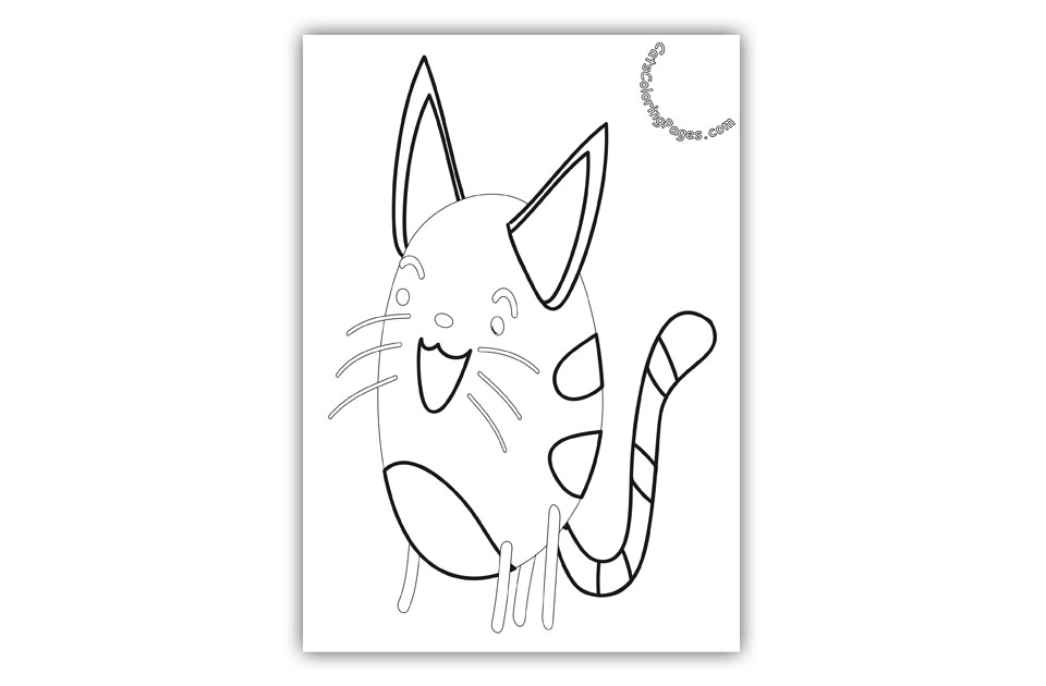 Funny Laughing Kitten Coloring Page