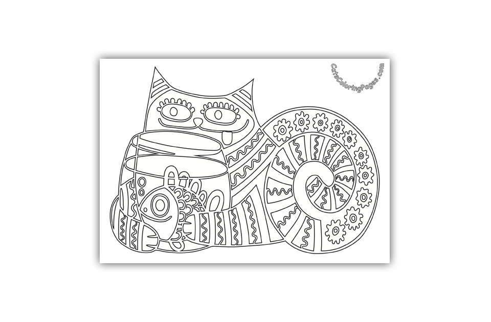 Cat with Fishbowl Coloring Page