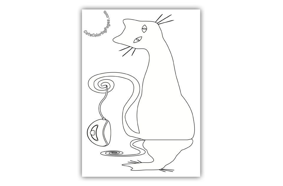 Cat and Mouse Coloring Page