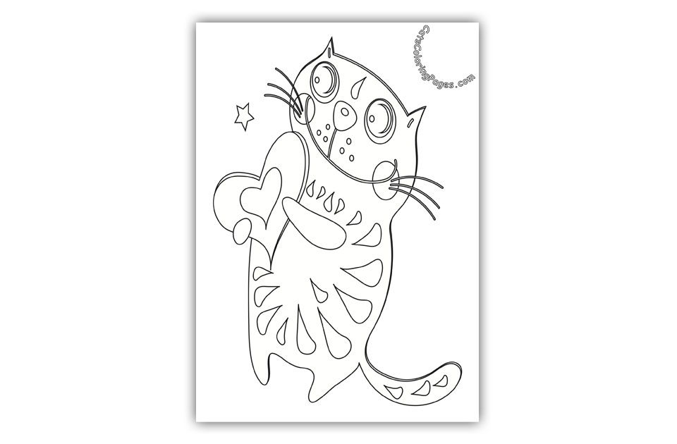 Happy Cat in Love Coloring Page