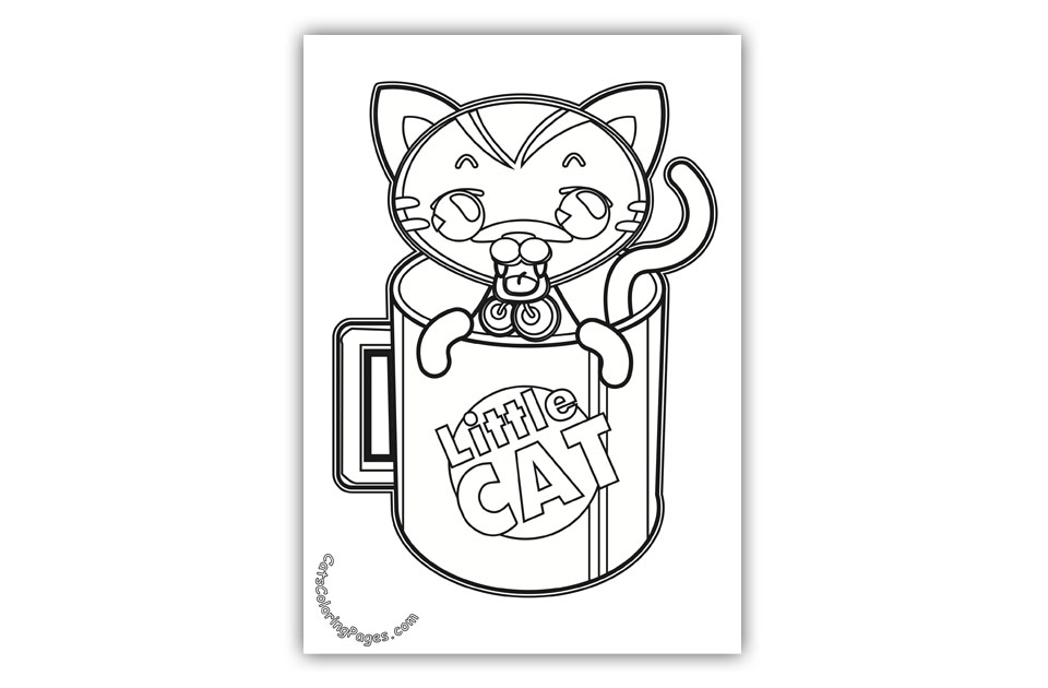 Little Cat in a Mug Coloring Page