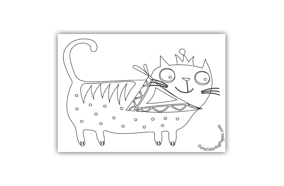 Happy Big Eyed Cat Coloring Page