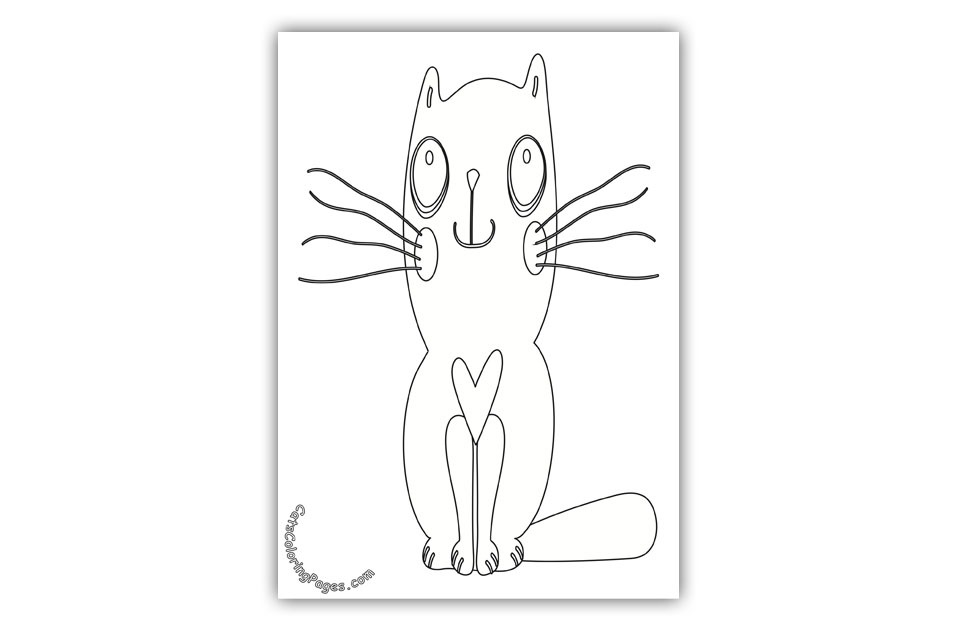 Loving Big Eyed Kitten Coloring Page
