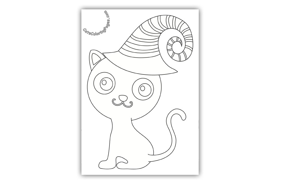 Halloween Kitten Card Coloring Page