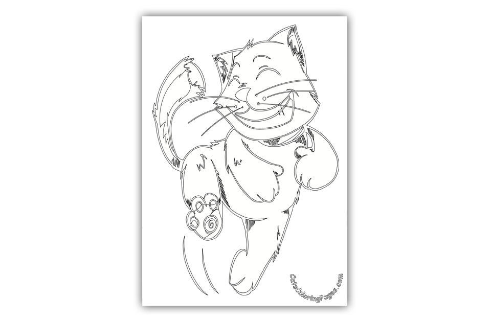Dancing Orange Tomcat Coloring Page