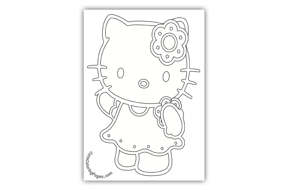 Sweet Cute Kitten Coloring Page