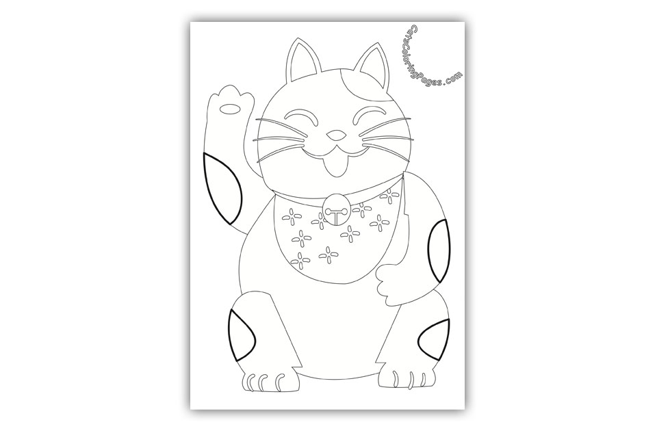 Laughing Japanese Cat Coloring Page