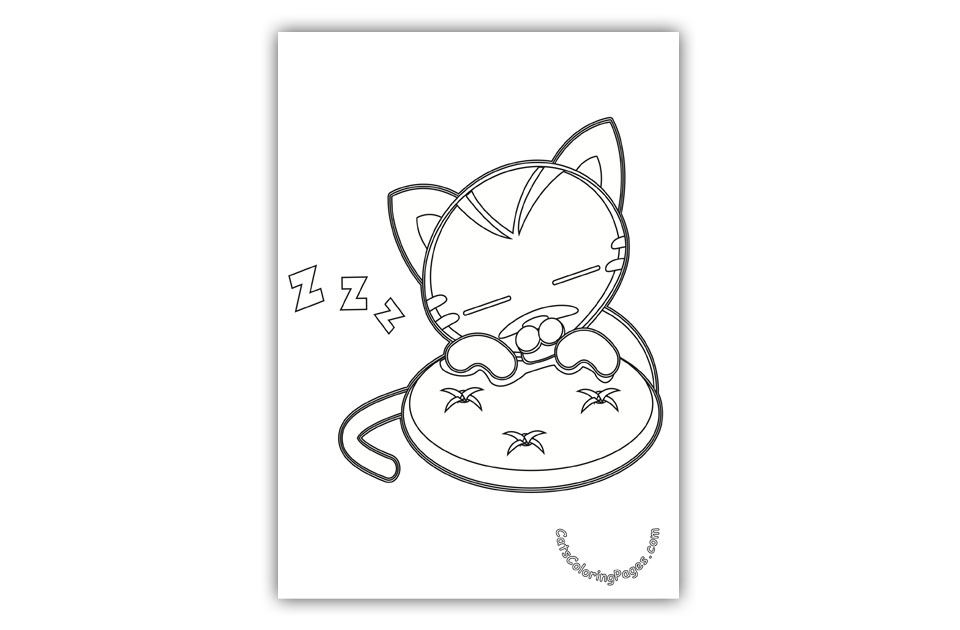 Little Cat Sleeping Coloring Page