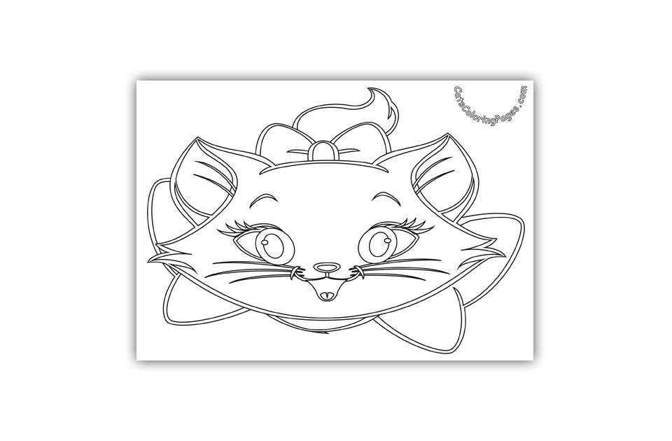 Laughing White Cat Coloring Page