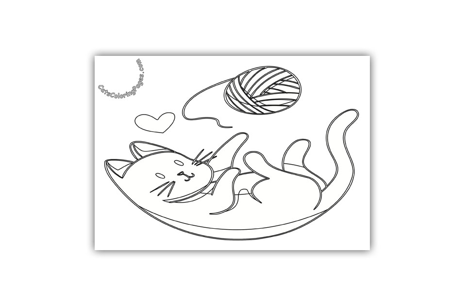Kitten Playing with Wool Coloring Page