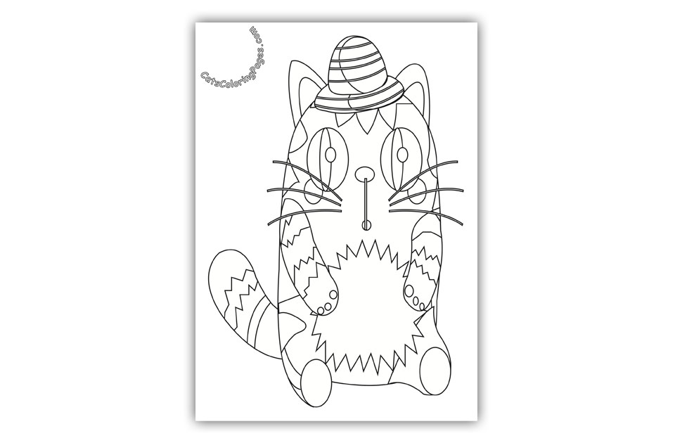 Very Surprised Cat Coloring Page