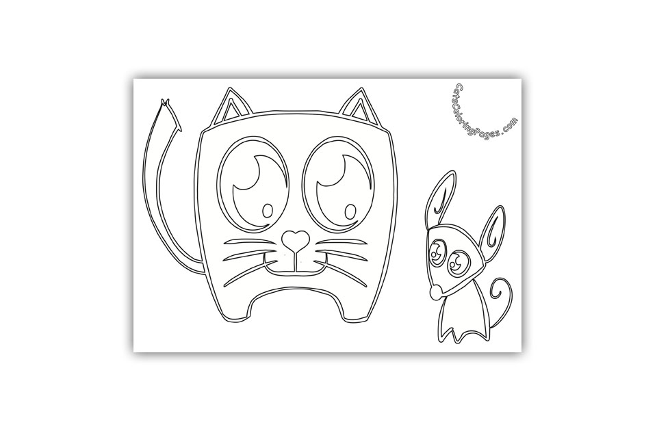 Kitten and Mouse Coloring Page
