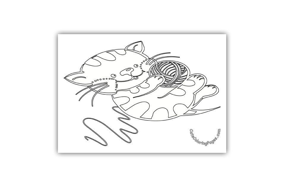 Kitten with Red Wool Ball Coloring Page