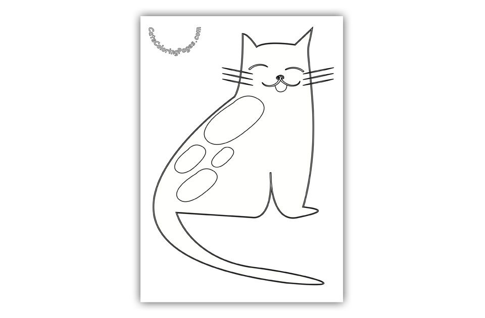 Happy Spotted Cat Coloring Page
